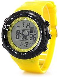 Rawdah La moda de los hombres LED Digital Fecha Deporte Militar de goma de cuarzo reloj de alarma a prueba de agua (amarillo)