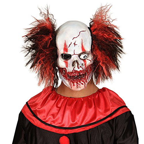 (NET TOYS Clown Maske Zombie Totenkopfmaske mit Haaren Horror Clownsmaske Horrorclown Faschingsmaske Totenkopf Horrormaske Grusel Halloweenmaske Halloween Masken Latex)