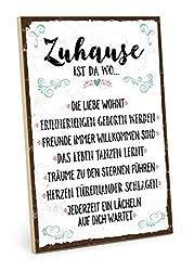 TypeStoff Holzschild mit Spruch - ZUHAUSE - Schild, Bild im Vintage-Look mit Zitat als Geschenk und Dekoration zum Thema Familie, Liebe und Geborgenheit - Sprüche Schilder (19,5 x 28,2 cm)
