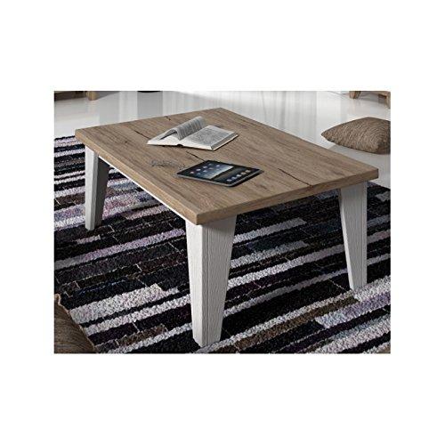 Table basse carrée LIER style scandinave - blanc et bois