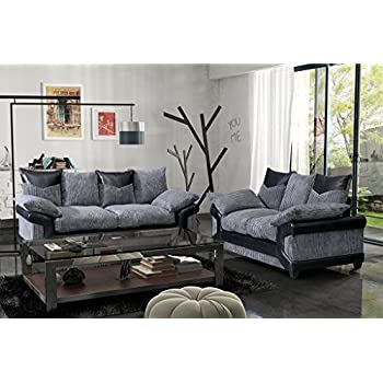 dino jumbo cord fabric u0026 faux leather panel 3 seater and 2 seater set corner sofa footstool black u0026 grey 3 seater u0026 2 seater set