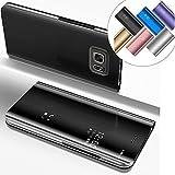 EMAXELERS Galaxy S6 Edge Plus Hülle Glitzer Luxus Spiegel Mirror Makeup magnetisch Schutzhülle Handytasche Tasche Flip Hard Case Hülle für Samsung Galaxy S6 Edge Plus,Mirror PU:Black
