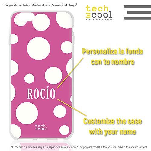 Funnytech Silikonhülle für iPhone 6 / iPhone 6S [Flexibles Silikon-Gel Widerstand und Auflösung] Spruch Feria Punkte Weiß Hintergrund Rosa