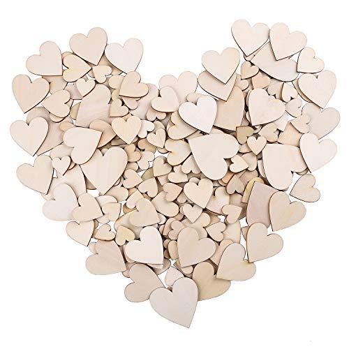 Whaline 210pezzi in bianco cuore di legno fette decorazioni per feste di matrimonio, artigianato, creazione di biglietti, decorazioni di nozze scene, 4misure