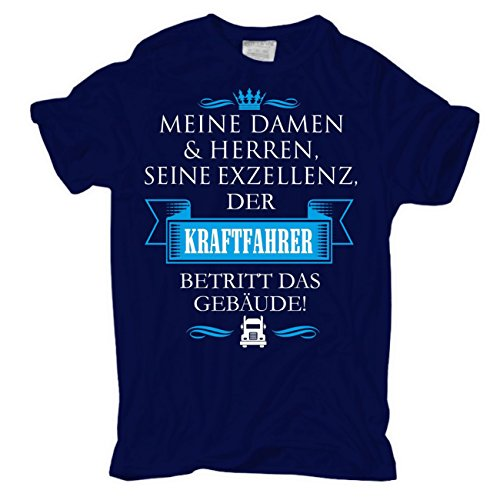 Männer und Herren T-Shirt Seine Exzellenz DER KRAFTFAHRER körperbetont dunkelblau