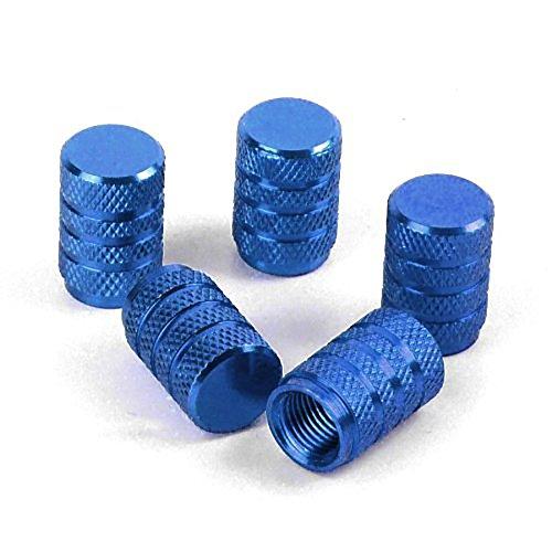 NiceButy Tappi Valvole Pneumatici, Set di 5 PCS Cappucci Coprivalvola in Lega di Alluminio per Valvole da Auto per Pneumatici, 15mm Blu Roba Interessante