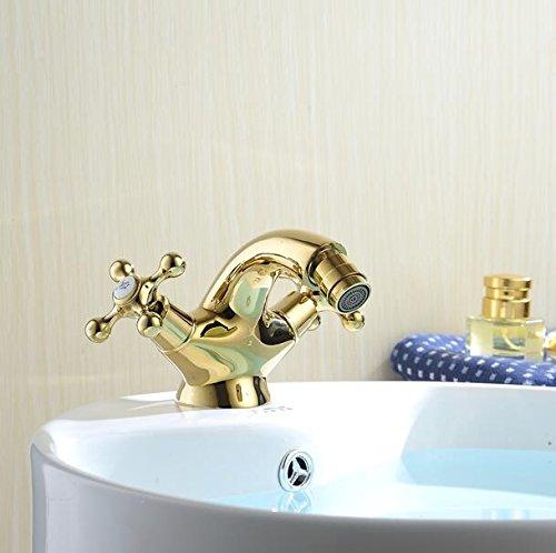Tourmeler Europa Style Gold Bidet Armatur Bad Dual Griff Bad Gold Bidet Armatur Mischer heißem und kaltem Leitungswasser , Messing, Golden (Spa Bidet Saubere)
