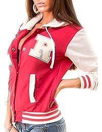 MyMixTrendz- Femme Baseball Universitéà capuche Veste Aviateur Avec Poches & Snap Attaches Fermeture Plus Haut De Taille veste