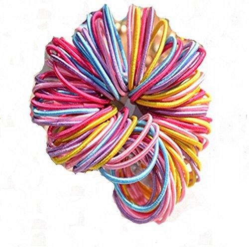Westeng 100PCS Baby Girl Children Elastic Hair Tie Bands Small Thin Hair Elastics Ponytail Stretchy Hairband