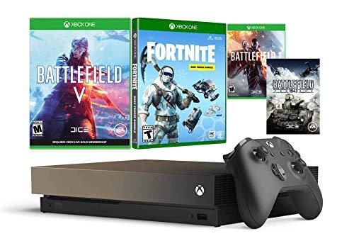 rtnite Gold Rush Bundle für Xbox One X (1 TB, Battlefield V Deluxe Edition, Fortnite Frostbite Skin, 1000 V-Bucks mit 4 K HDR 1 TB Xbox One X Spielkonsole, Grau / goldfarben ()
