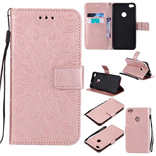 Bear Village Funda Huawei P8 Lite 2017, Cuero Fundas con [Garantía de por Vida], Protección De Cuerpo Completo Carcasa Case Cover para Huawei P8 Lite 2017 (#8 Oro Rosa)