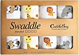 Mussola baby swaddle coperta '4 Pack' di Cuddlebug | Disponibile in 5 varianti di colore | 4 Adorabili Design | Formato Grande 120 x 120 cm | Morbide Copertine in Mussola | Regalo Bebè - Ideale per Set Biancheria Bebè | Unisex | Copertina Neonato Cotone (Amici di Safari)