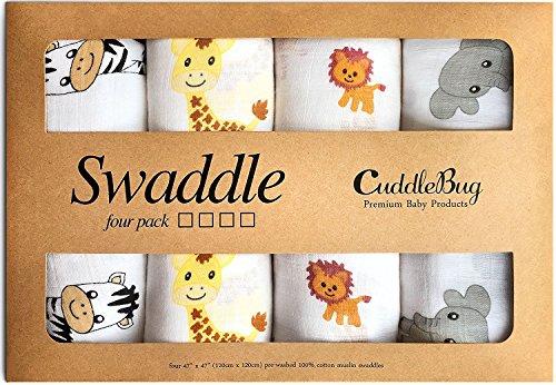 Musselin Viereckstücher und Windeltücher - von Cuddlebag - (4er Pack) - große Mussellin Decken für Neugeborene - 120cm x 120 cm - Unisex (Safarimuster)