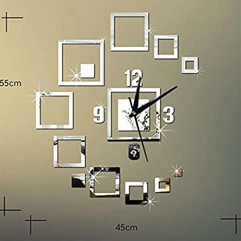 MCC Creative Mirror Wall Clock Mirror Clock 3D Diy Stereo