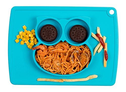 Den Blauen Teller (Qshare - Kleinkindplatte, Babyplatte für Kleinkinder und Kinder, Tragbare, BPA-freie, von der FDA zugelassene, starke Saugplatte für Kleinkinder)