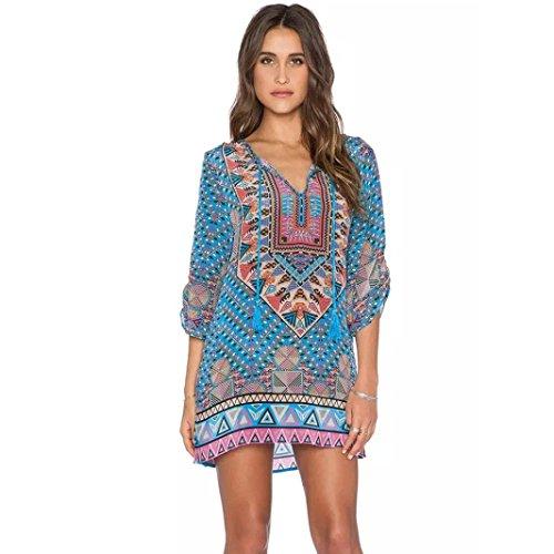 Hot! Damen Kleid Yesmile Frauen Damen Vintage Bohemian Strandtunika Sommerkleid Tunikakleid Bluse Strandkleid Minikleid Kleider (L, ()