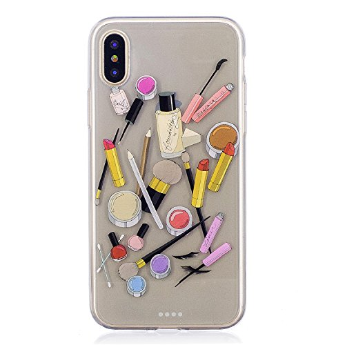 iPhone X Hülle, Voguecase Silikon Schutzhülle / Case / Cover / Hülle / TPU Gel Skin für Apple iphone X(Mädchen im bunten Kleid) + Gratis Universal Eingabestift Kosmetikum