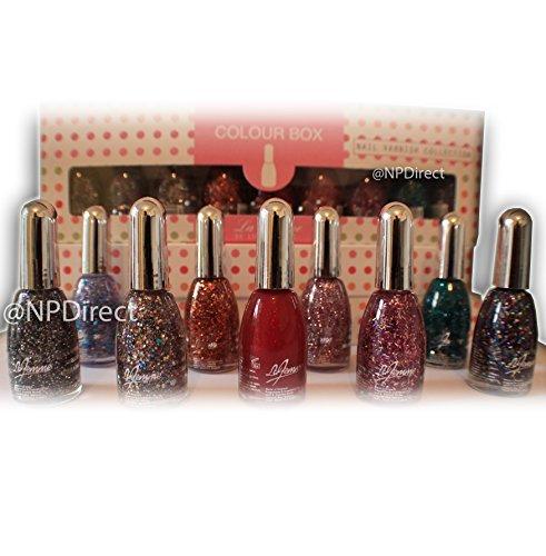 La Femme Set Of 9 Glitter Nail Polish 15ml by La Femme