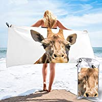 popluck Giraffe Funny Face Microfiber Quick Dry Super Soft Ultra Light Travel Portable Towel for Travel Beach Camping Gym Swimming Sporting