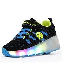 Muchachos de los niños y niñas de calzado deportivo,zapatos de skate,con luces LED parpadeantes zapatillas de skate tienen una rueda,zapatos para correr