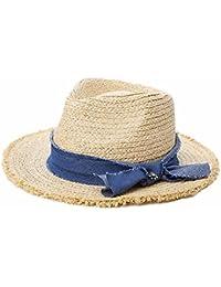 Aszhdfihas Sombrero de Playa Sombrero Femenino Verano Coreano Rafi Sombrero  de Paja Sombrero de Pescador de protección Solar Playa… 7e75108164a