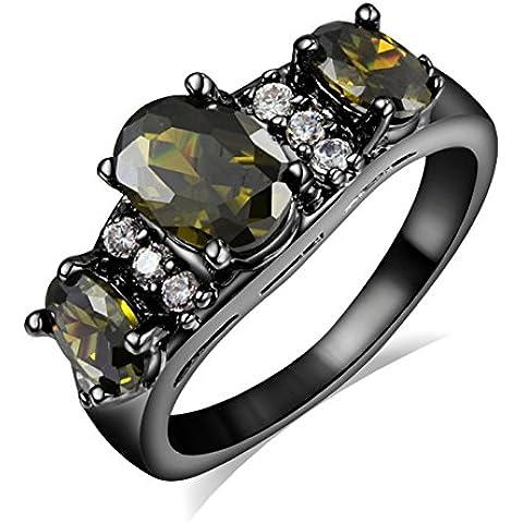 Mujer 3de cristal piedra negro chapado en oro Acero inoxidable Bandas de boda Zircon Crystal Negro anillos, Tamaño 678