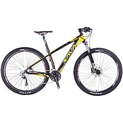 """SAVA DECK 300 27.5""""/29"""" Bicicleta de Montaña de Fibra de Carbono 30-Velocidad Shimano M610 Hard Tail Bicicleta SR SUNTOUR Horquilla de Suspensión Mountain Bike Maxxis Neumáticos Bicis Montaña (Negro & Amarillo, 29"""")"""