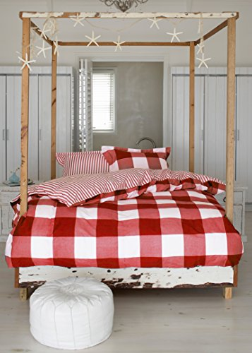 Essenza Single (Essenza Single Checker Board Set, Bettbezug mit 1Kissenbezug, Baumwolle, Rot)