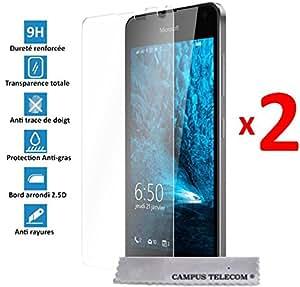 2 Films Vitre Verre Trempé de protection ecran pour Microsoft Nokia Lumia 650 by Campus Telecom®