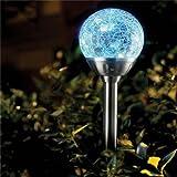 Solalite - Sfere luminose in acciaio INOX, a energia solare, effetto ghiaccio crepato, 6 pz