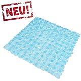 Blaue Transparente Anti Rutsch Matte für die Dusche - Duscheinlage mit Saugnäpfen - Schadstofffreie Duschmatte in schöner Kieseldekor Steinoptik - Größe: 53 x 53cm - Pflegeleicht