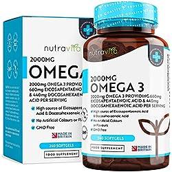 Huile de Poisson Pure Oméga 3-2000mg 240 Capsules Molles - EPA (660mg) & DHA (440mg) - Sans OGM - Fabriqué au Royaume-Uni par Nutravita