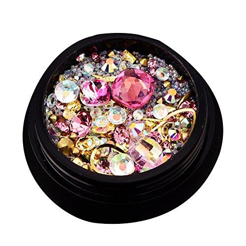 newin Star Strass pour ongles artistiques cristaux de décoration ongles mixtes 3d avec dos plat et thaïlandais et strass pour nail art dIY 4 * 4 * 1 cm rose