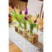 Vase aus Holz von Obstkiste mit 3 x Glasflasche, Frühlingsdeko