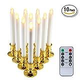 niceEshop(TM) 10PCS Elektrische Kerze, Fenster Kerzen, LED Elektrische Kerzelichter mit Fern Timer Batteriebetrieben für Festival Hochzeit, Weihnachtsfenster Kerzen