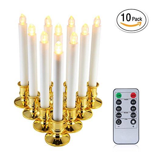 niceEshop(TM) 12pcs Realista y Luminosa Lámpara Sin Llama Accionada por Batería Luz de T?Parpadeante LED con Remoto (Blanco)
