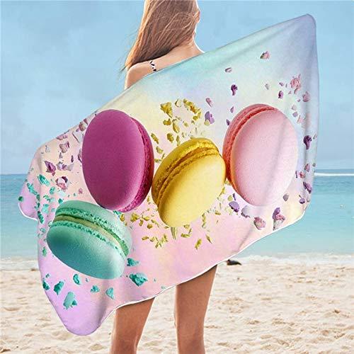 GBYJ Badetuch groß Macaron Badetuch für Mädchen Chocolate Beach Towel Sweet Dessert Mikrofaser Decke Red Lips Colorful toalla
