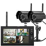 RANZIX 7' TFT DVR Kit caméra de Surveillance numérique avec écran et caméra extérieure LCD sans Fil avec 2 caméras