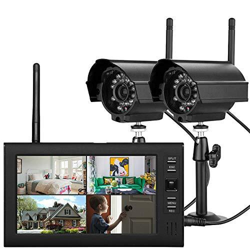 """RANZIX 7"""" TFT DVR Digitales Überwachungskamera Set mit Monitor, Außen Videoüberwachungs Außenkamera LCD Funk Überwachungskamera mit 2 Kamera"""