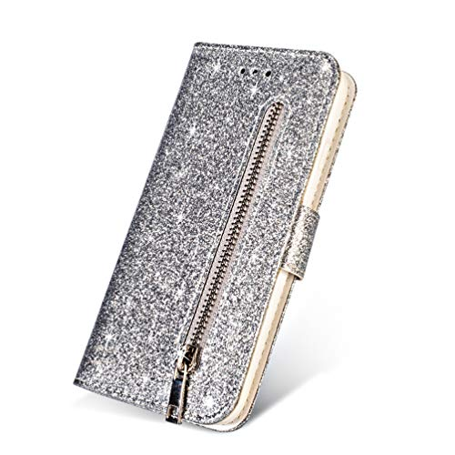 LaVibe Coque iphone X, Housse en Cuir PU Leather Etui Portefeuille à Rabat Glitter Clapet Support Fermeture éclair Porte Video Stand, Flip Wallet Protective Case Cover–Argent