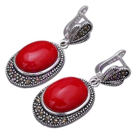 Qiyun ovale Coin Forme perle Vintage Totem chanceux sculpte .925 en argent sterling Boucles d'Oreilles - corail rouge