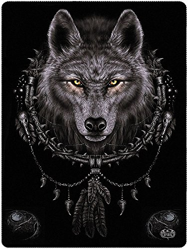 SPIRAL DIRECT Alternative Goth Black WOLF DREAMS Fleece Blanket Gift by Ripleys Clothing