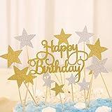 Decorazione per torte e cupcake oro e argento, con stelle e monogramma Happy Birthday (in lingua inglese), decorazioni per feste di compleanno, 41pezzi