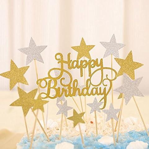 Joyeux anniversaire Monogramme et doré Argent étoile Décorations de cupcakes Motif Toppers Picks Fournitures, 41 pcs Paillettes fête Décorations