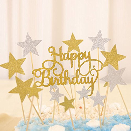 Glitzer Kuchen Dekoration Cake Topper für Geburtstag KuchenDekorationen 41Pcs Star Kuchen Dekorieren Kuchen Toppers Sticks