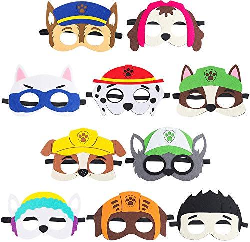 BeYumi 10Packs Puppy Party Masken Geburtstag Party Cosplay Charakter Party Favors Partyzubehör für Kinder Kleinkinder Filz Tiermasken für Partybeutelfüller