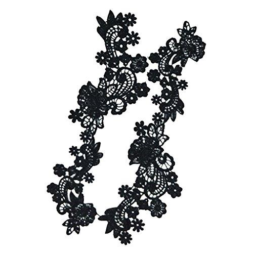 MagiDeal 1 Par de DIY Applique de Encajes Flores Bordado de Tela para Decoración de Coser - Negro