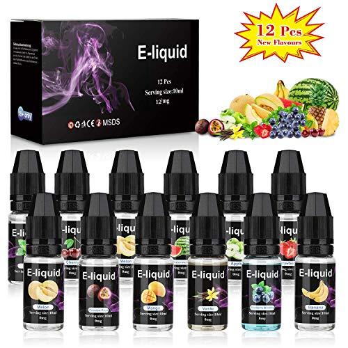 E-liquids ohne Nikotin 70VG/30PG, 12 Aromen E-Zigaretten Liquid Set Nachfüllen Elektronische Zigarette, für E Zigaretten/Electronic Cigarette/E Shisha, MEHRWEG ()