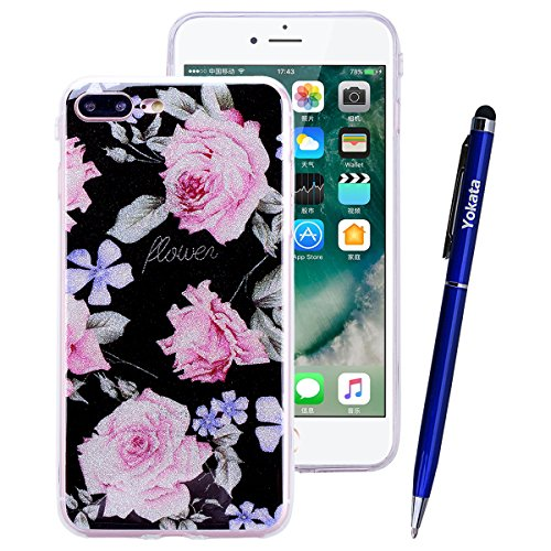 Yokata Coque iPhone 7 (4.7 inch) Étui Motif Etui iPhone 7 Silicone Souple Ultra Fine Mince Housse Doux Soft Gel Case Bumper en Transparente Slim Cover Anti Choc Housse de Protection 1* Stylet Pen - Co Fleur Rose