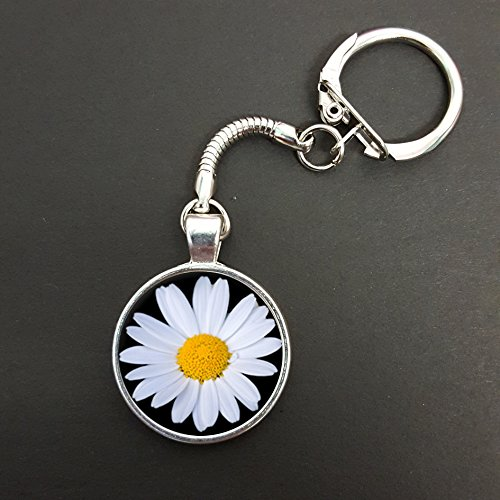 daisy-flower-pendant-on-a-snake-keyring-ideal-birthday-gift-n585